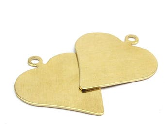 Heart Stamping Blank, 4 Raw Brass Heart Stamping Blank, Pendant (35x30x0.80mm) D190--Y347  Y095
