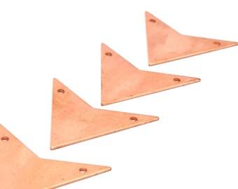 Copper Arrow Pendant, 10 Raw Copper Triangle Pendant With 2 Holes, Chevron, Triangle, Arrow Head (33x33x33x0.80mm) D459