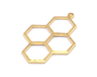 One Pair Matte Gold Plated Brass Base Earring Post 3146C-N-219 Honeycomb