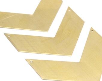 6 Raw Brass Chevrons 2 Holes  (70x25x0.80mm) A0902--N655