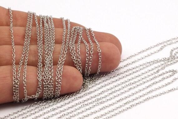 Chaîne ovale, chaîne en argent, ton argent soudée en laiton chaîne (2x1.6mm) Mo 8-40