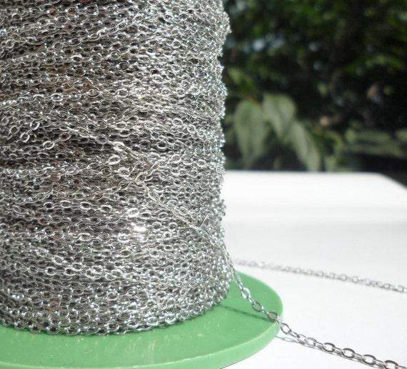 Chaîne en laiton argenté, 90-300 mètres (1.5x2mm) ton argent en laiton soudé chaîne - Y005 (Z015)