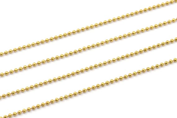 5 Meters 1mm Ball Chain Brs 4 16.5 Feet Z006 Raw Brass Faceted Ball Chain 1mm