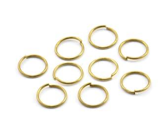 10mm Jump Ring - 100 Raw Brass Jump Rings (10x0.90mm) A0324