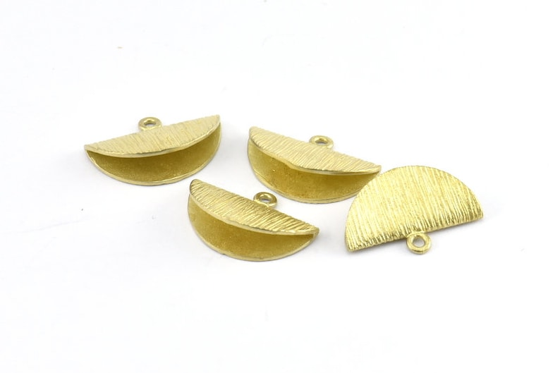 Half Moon Crimp Findings E589 6 Raw Brass Textured Ribbon Crimp End With 1 Loop 20x13mm