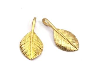 Brass Leaf Pendant, 2 Raw Brass Leaf Charms (27x13mm) N366