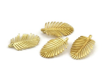 Brass Leaf Charm, 8 Raw Brass Leaf Charms With 1 Hole, Earrings, Findings (21x13x1mm) N1207
