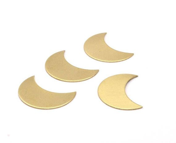 moon phase blank 10 raw brass crescent moon blanks etsy