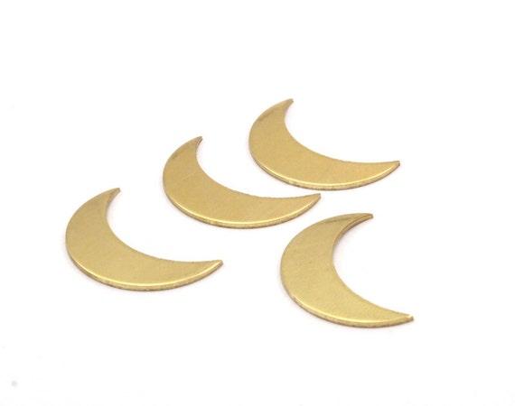 10 Raw Brass Semi Circle Blanks With 10 Holes A1573 Half Moon Charm 30x15x0.80mm