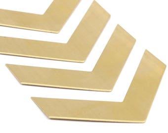 8 Raw Brass Chevron Blanks (60x15x0.80mm) A0861--n609