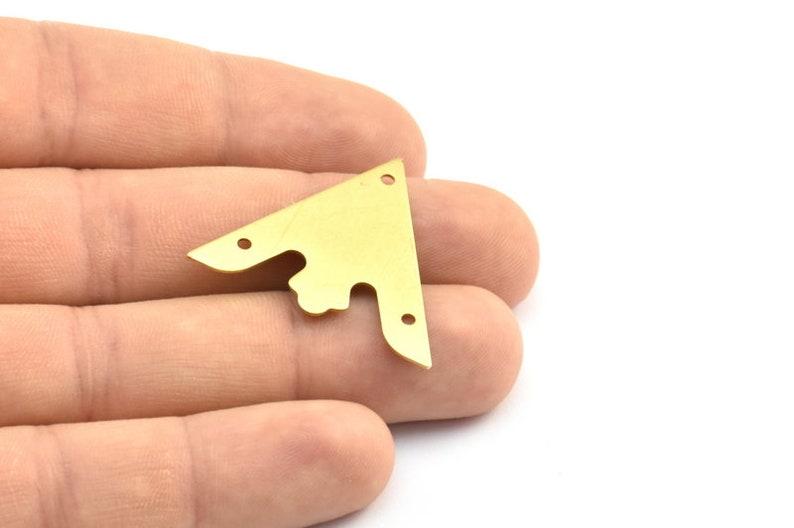 4 Raw Brass Triangle Pendant With 3 Holes Brass Triangle Blank Brass 003 A0116 33x33x33mm