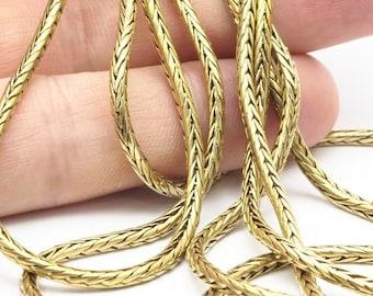 Brass Snake Chain, 2m Raw Brass Snake Chain (2mm) Bs 1371