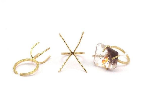 Griffe de paramètres de sonnerie - 5 en laiton brut 4 griffes bague blancs pour pierres naturelles N046