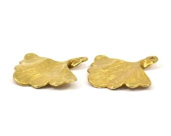 Gingko Leaf Pendant, 4 Raw Brass Leaf Charms (26x25mm) N393