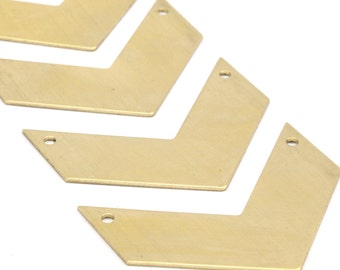 Chevron Necklace Pendant, 10 Raw Brass Chevron Blanks with 2 Holes (40x15x0.80mm) N601