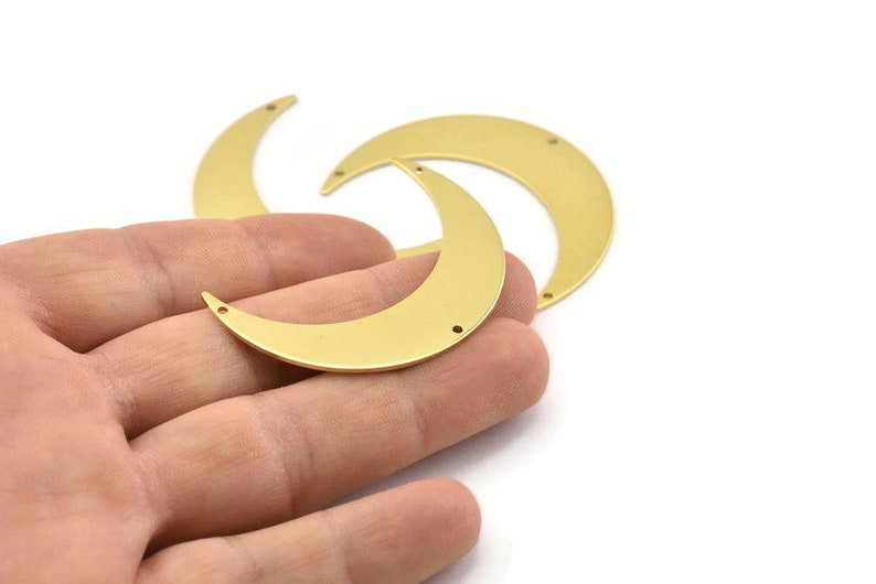 M833 6 Raw Brass Crescent Moon Charms With 3 Holes 46x11x0.90mm Brass Moon Charm
