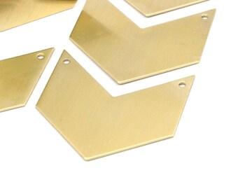 8 Raw Brass Chevrons 2 Holes Blanks (40x25x0.80mm) A0836--n617
