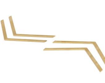 Brass Chevron Blank, 14 Raw Brass Chevrons (60x3x0.80mm) A0862--n640