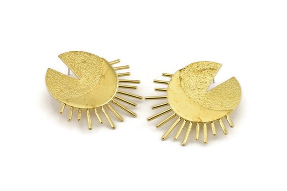 10 Raw Brass Moon Charms With 2 Holes M118 Brass Moon Charm 35x28x0.80mm Connectors