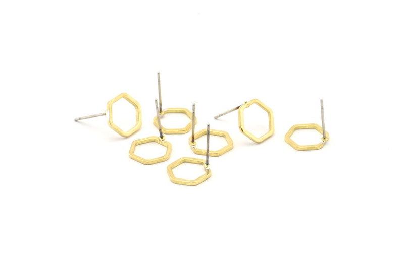 10mm 12 Raw Brass Hexagon Stud Earrings Brass Hexagon Earring BS 1220 A1149