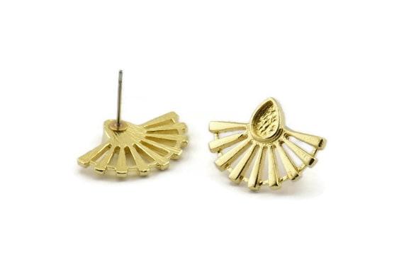 Brass Sun Earring 33x21mm N948 A1487 2 Raw Brass Sun Stud Earrings