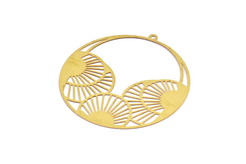 Brass Earring Charm  4 Raw Brass Textured Round Earring image 0