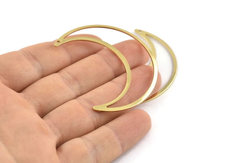 50x15x0.90mm M921 Brass Moon Charm 6 Raw Brass Crescent Moon Charms With 1 Hole