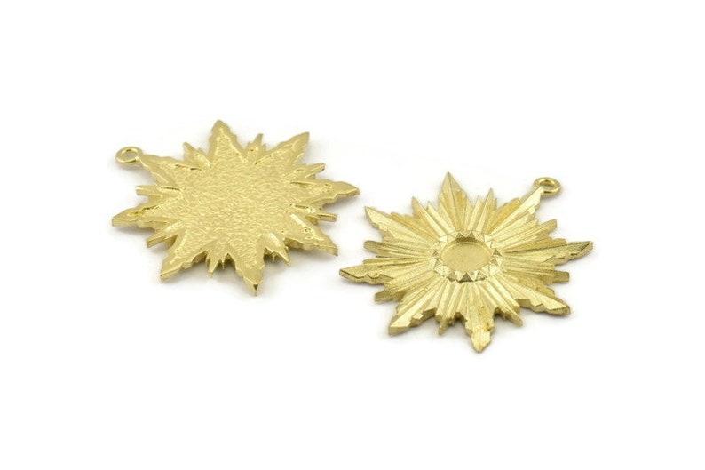 Brass Badge Charm 2 Raw Brass Rosette Charm Pendants With 1 Loop 37x34mm Earrings Pad Size 6mm N757