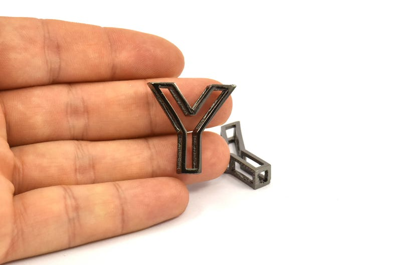 Black Y Letter Letter Initial Pendant for Personalised Necklaces Uppercase Initials 2 Black Plated Y Letter
