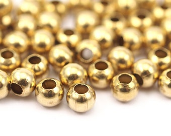 50 Raw Brass Ball Beads, Findings (5mm) 5bos A0744