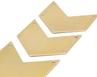8 Raw Brass Chevron Blanks 4 Holes (40x25x0.80mm) A0870--n616