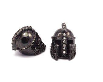 1 Gunmetal Gladiator Helmet Beads, Cz Micro Pave Bead 15x10mm W00743 B-4