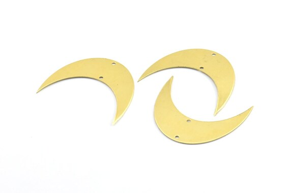 moon phase blank 8 raw brass crescent moon blanks with 2 etsy
