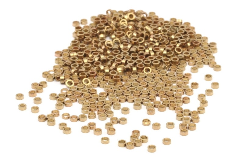 250 Raw Brass Spacer Rondelle Beads for Leather Bracelets Tiny Spacer Bead 2mm Ropes Y083