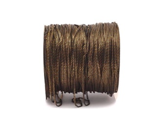 Black Chain, Curb Chain, 50 Meters - 33 Feet (1.2mm) Black Antique Brass Faceted Soldered Curb Chain - Ys009 ( Z039)