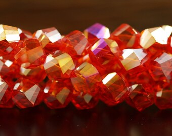 Fire Red Ab Glass Beads, 10mm Step Faceted Beads 20 Pcs -