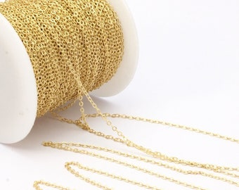 Link Chain, Brass Chain, 95 M - (1.5x2mm) Raw Brass Soldered Chain - ( Z001 )