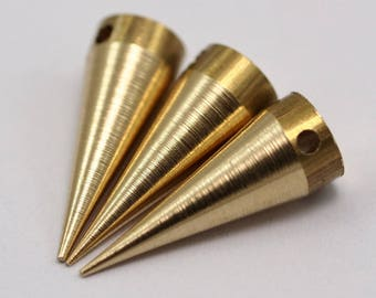 10 Raw Brass Spike Tribal Pendant (20x7 Mm)