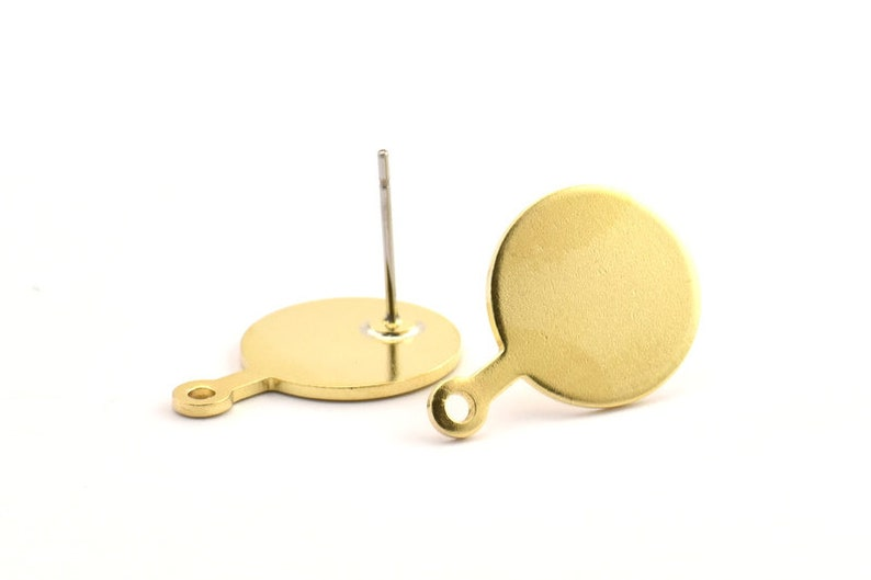 D754 A1304 8 Raw Brass Round Stamping Blanks With 1 Loop 20x14x1mm Stud Earrings Brass Round Earring