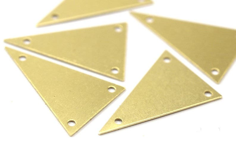 Brass Triangle Charm 20 Raw Brass Triangle Charms With 3 image 0