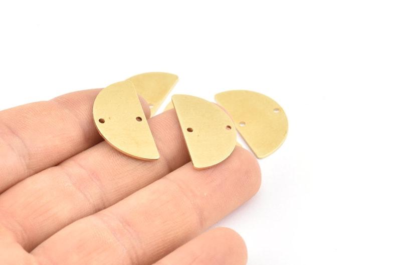 Semi Circle Charm D918 24x13x0.80mm Earrings Pendants 12 Raw Brass Half Moon Blanks With 2 Holes
