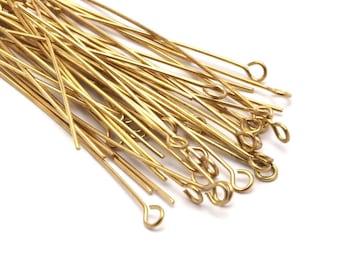 Brass Bead Pin, 100 Raw Brass Eye Pins, Findings (50x0.7mm) Bs 1156