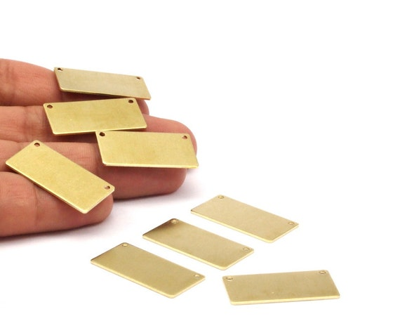 40x5x1.5mm 4 Raw Brass Rectangle Stamping Blanks With 2 Holes Pendants Rectangle Stamping Blank A0851