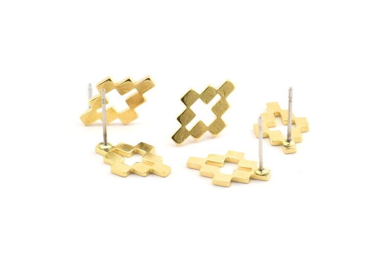 D1015 A1241 10x15x1mm 10 Raw Brass Stud Earrings Brass Puzzle Earring