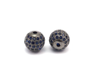 Cubic Zirconia Ball Bead, 1 Pc Navy Micro Pave Cz Cubic Zirconia 10 Mm Ball Bead W00003 B-4