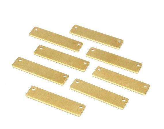 23x14mm Raw Brass Blank Rectangular Plate Rectangular Necklace 4 Holes Rectangular Charms Raw Brass Rectangular Pendant RB110