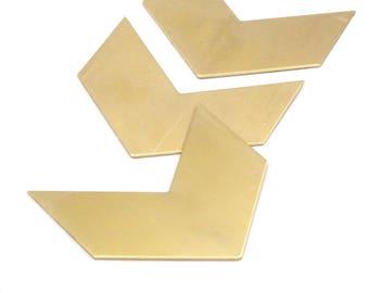 7 Raw Brass Chevron Blanks (50x25x0.80mm) A0903--n643