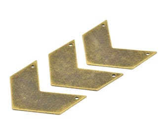 Antique Brass Chevrons , 4 Antique Brass Plated Chevron Pendant with 2 Holes (40x20x0.80mm) A0832--N603