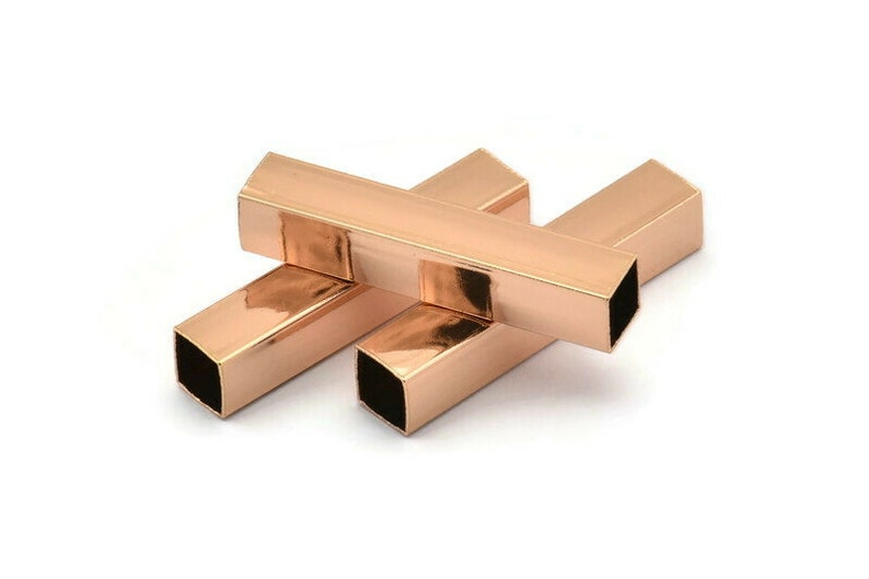 32x6x6mm Sq06nf Brc261 Q175 6 Square Rose Gold Plated Brass Tubes