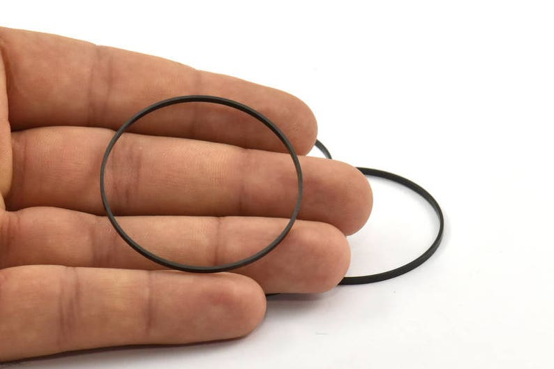 6 Oxidized Brass Black Circle Connectors 45x0.75x1.8mm Bs 1072 S253 Black Circle Connectors
